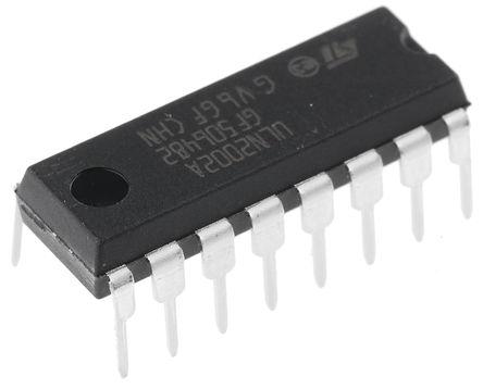 STMicroelectronics - ULN2002A - STMicroelectronics ULN2002A NPN 达林顿晶体管对, 0.5 A, Vce=50 V, HFE=1000, 16引脚 PDIP封装