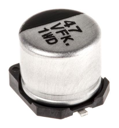 Panasonic - EEEFK1V470P - Panasonic FK SMD 系列 35 V 47μF SMD 铝电解电容器 EEEFK1V470P, ±20%容差, 360mΩ(等值串联), 最高+105°C, D封装