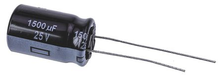 Panasonic - EEUFR1E152 - Panasonic FR 径向 系列 25 V 直流 1500μF 通孔 铝电解电容器 EEUFR1E152, ±20%容差, 最高+105°C