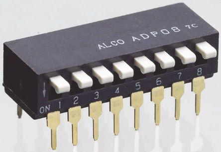 TE Connectivity - ADP0804 - TE Connectivity ADP0804 8位置 琴键式 通孔 DIP 开关, 8P, 25 mA@ 24 V 直流