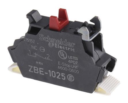 Schneider Electric - ZBE1025 - Schneider Electric XB4 XB5 系列 接触块 ZBE1025, 1 常闭, 弹簧夹接端