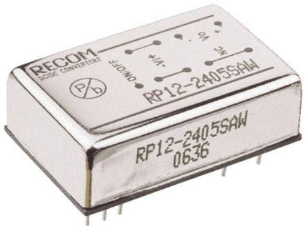 Recom - RP12-2415SAW - Recom RP12 AW 系列 12W 隔离式直流-直流转换器 RP12-2415SAW, 9 → 36 V 直流输入, 15V dc输出, 800mA输出, 1.6kV dc隔离电压, 86%效能, DIP封装