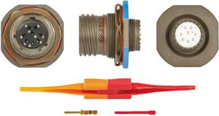 ITT - KJB7T13W8SN - ITT KJB 系列 8路 面板安�b �B接器 螺�y 插座 KJB7T13W8SN, 母�|芯, 外�こ叽�13, MIL-DTL-38999