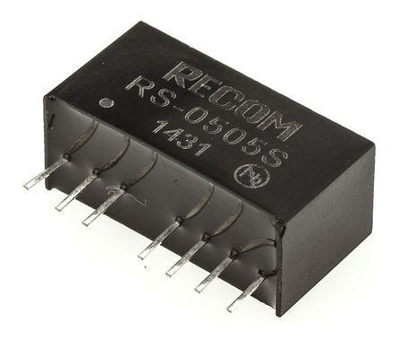 Recom - RS-0505S - Recom RS 系列 2W 隔�x式直流-直流�D�Q器 RS-0505S, 4.5 → 9 V 直流�入, 5V dc�出, 400mA�出, 500V ac隔�x���, SIP封�b
