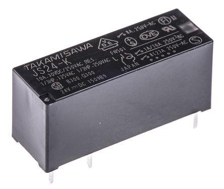 Fujitsu - JS-24-K - Fujitsu JS-24-K 单刀双掷 PCB 安装 非闭锁继电器, 24V