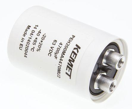 KEMET - PEH200MA4470MU2 - KEMET PEH200 系列 63 V 直流 4700μF 底盘安装 铝电解电容器 PEH200MA4470MU2, ±20%容差, 32mΩ(等值串联), 最高+85°C, 罐 - 螺钉接线端子,径向封装