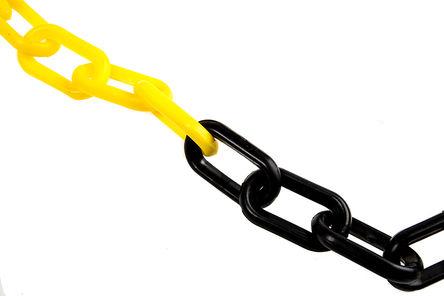RS Pro - CNJ801NJRS - RS Pro 25m长 黑色/黄色 塑料 链 CNJ801NJRS, 8 (Dia.) x 50 x 30mm, 使用于 挡层、接线端子、标志