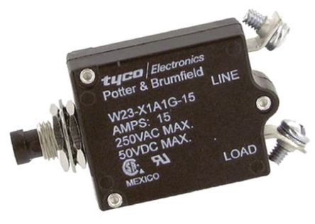 TE Connectivity - W23-X1A1G-15 - TE Connectivity W23 系列 15A 1 极 热磁断路器 W23-X1A1G-15, 50 V dc, 250 V ac
