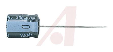 Nichicon - UVZ1J100MDD - Nichicon VZ 系列 63 V 10μF 通孔 铝电解电容器 UVZ1J100MDD, ±20%容差, 最高+105°C