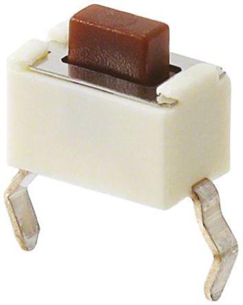 Panasonic - EVQPE605T - Panasonic 棕色 推入板 触觉开关 EVQPE605T, 单刀单掷 - 常开, 50 mA @ 12 V 直流 5mm