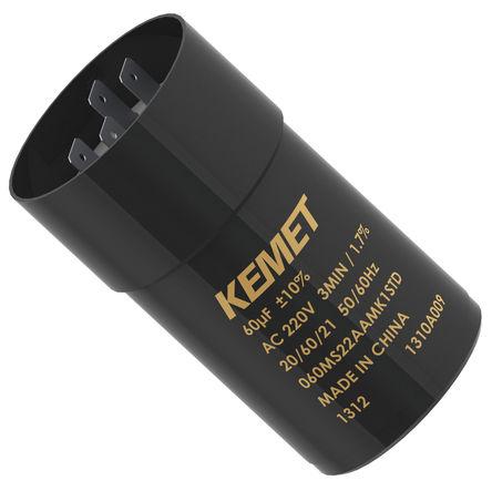 KEMET - 060MS22AAMA1RSC - KEMET MS 系列 220 V 交流 60μF 底盘安装 铝电解电容器 060MS22AAMA1RSC, 0 → +25%容差, 最高+60°C, 聚碳酸酯外壳封装