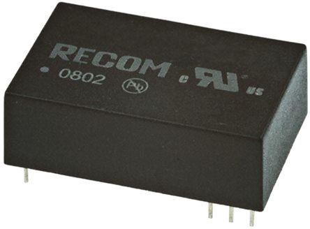 Recom - REC3-1215SR/H1 - Recom REC3 系列 3W 隔离式直流-直流转换器 REC3-1215SR/H1, 10.2 → 13.8 V 直流输入, 15V dc输出, 200mA输出, 1kV dc隔离电压, 75%效能, DIP封装