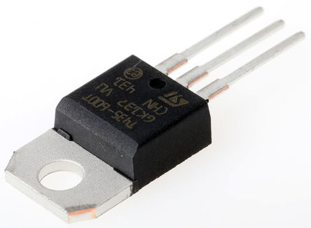 STMicroelectronics - T435-600T - STMicroelectronics T435-600T 三端双向可控硅开关元件, 4A额定, 600V峰值, 35mA 1.3V触发, 3引脚 TO-220AB封装