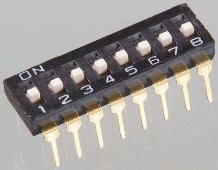 Apem - NDI02SVX - Apem 2位置 滑动 通孔 DIP 开关, 单刀单掷, 25 mA@ 24 V 直流