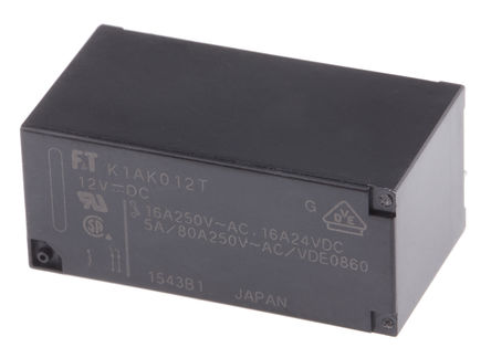 Fujitsu - FTR-K1AK012T - Fujitsu FTR-K1AK012T 单刀单掷 PCB 安装 非闭锁继电器, 12V