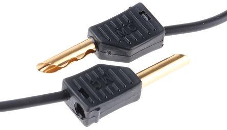 Multi Contact - 28.0055-100-21 - Multi Contact 28.0055-100-21 黑色 测试引线, 19A额定电流, 30 V ac, 60 V dc, 公至公, 1m长