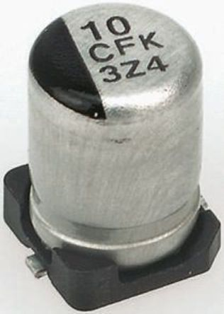 Panasonic - EEEFK0J331AP - Panasonic FK SMD 系列 6.3 V 直流 330μF SMD 铝电解电容器 EEEFK0J331AP, ±20%容差, 260mΩ(等值串联), 最高+105°C