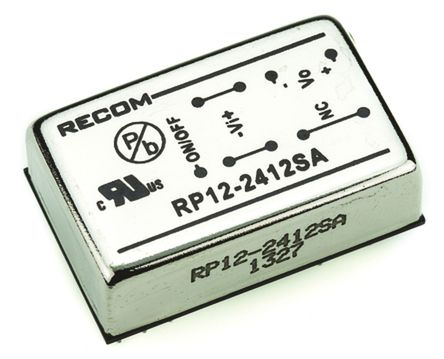 Recom - RP12-2412SA - Recom RP12 A 系列 12W 隔离式直流-直流转换器 RP12-2412SA, 18 → 36 V 直流输入, 12V dc输出, 1A输出, 1.6kV dc隔离电压, 87%效能, DIP封装