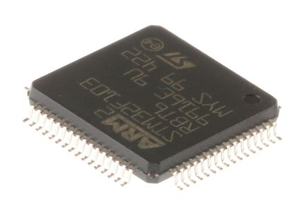 STMicroelectronics - STM32F103RBT6 - STM32F 系列 STMicroelectronics 32 bit ARM Cortex M3 MCU STM32F103RBT6, 72MHz, 128 kB ROM 闪存, 20 kB RAM, 1xUSB, LQFP-64