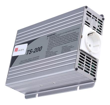 Mean Well - TS-200-212-B - Mean Well 200W 直流-交流汽车电源逆变器 TS-200-212-B, 10.5 → 15V dc / 230V ac, 86%效能, 1.63kg重量, 205 x 158 x 59mm