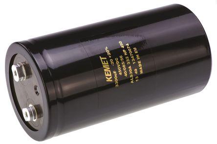 KEMET - ALS30A332NP450 - KEMET ALS30 系列 450 V 直流 3300μF 底盘安装 铝电解电容器 ALS30A332NP450, ±20%容差, 39mΩ(等值串联), 最高+85°C, 罐 - 螺钉接线端子,径向封装
