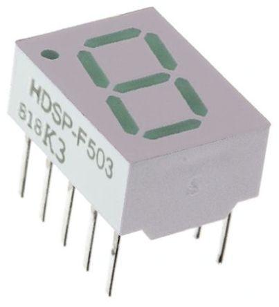 Broadcom - HDSP-F503 - Broadcom 1字符 7段 共阴 绿色 LED 数码管 HDSP-F503, 3.5 mcd, 右侧小数点, 10.16mm高字符, 通孔安装