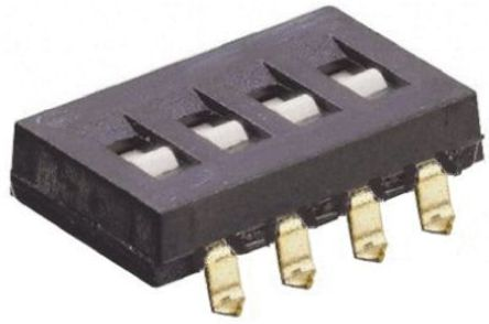 TE Connectivity - 1825140-1 - TE Connectivity 1825140-1 4位置 滑动 印刷电路板 DIP 开关, 单刀单掷, 25 mA @ 24 V 直流
