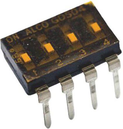 TE Connectivity - 1825006-5 - TE Connectivity 1825006-5 4位置 滑动 通孔 DIP 开关, 单刀单掷, 25 mA@ 24 V 直流