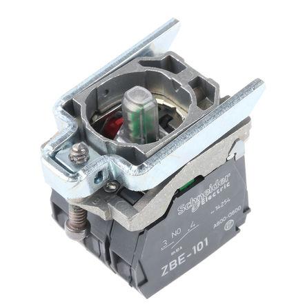 Schneider Electric - ZB4BW0M35 - Schneider Electric XB4 系列 接触块和照明块 ZB4BW0M35, 1 常开,1 常闭, 230 → 240 V 交流, 绿色 LED, 螺钉接端