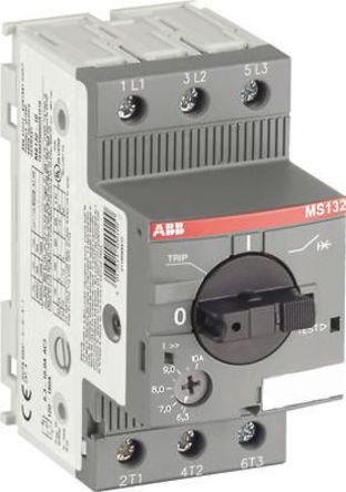 ABB - MS132-0.16 - ABB MS132 系列 0.03 kW 3P 手动 电动机保护断路器 MS132-0.16, 690 V 交流, 1/3相, IP20