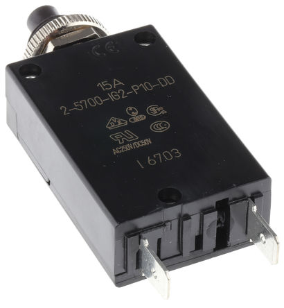 ETA - 2-5700-IG2-P10-DD-15A - ETA 1387955 系列 15A 1极 热磁断路器 2-5700-IG2-P10-DD-15A, 28, 250V dc, V ac