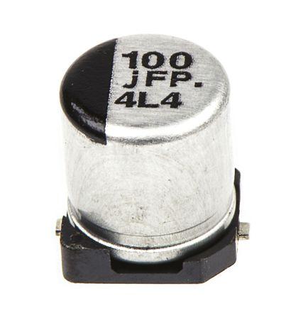 Panasonic - EEEFPJ101UAR - Panasonic FP SMD 系列 6.3 V 直流 100μF SMD 铝电解电容器 EEEFPJ101UAR, ±20%容差, 360mΩ(等值串联), 最高+105°C, C封装