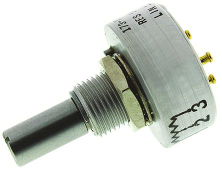 Vishay - 157B502MX9001 - Vishay 157 系列 5kΩ ±20% 线性 导电塑料电位计 157B502MX9001, 1W, 6.35 mm 直径轴, ±600ppm/°C, 面板安装