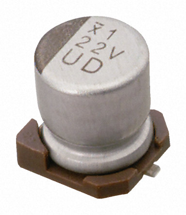 Nichicon - UUD1A220MCL - Nichicon UD 系列 10 V 直流 22μF SMD 铝电解电容器 UUD1A220MCL, ±20%容差, 最高+105°C