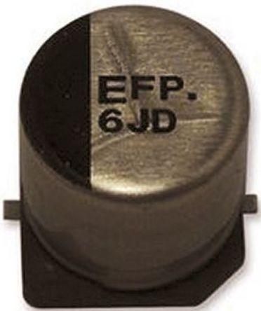 Panasonic - EEEFP0J220AR - Panasonic FP SMD 系列 6.3 V 直流 22μF SMD 铝电解电容器 EEEFP0J220AR, ±20%容差, 850mΩ(等值串联), 最高+105°C