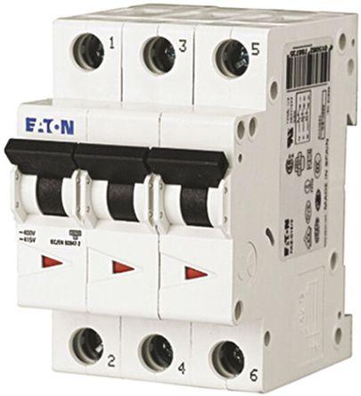 Eaton - FAZ6-C20/3 - Eaton xEffect FAZ6 系列 3极 20 A MCB 微型断路器 FAZ6-C20/3, 6 kA 断开能力, C型 跳闸特性
