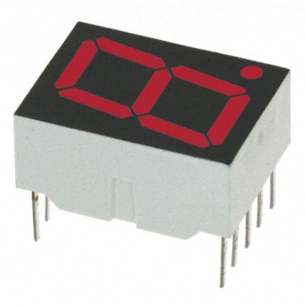 Broadcom - HDSP-H103 - Broadcom 1字符 7段 共阴 红色 LED 数码管 HDSP-H103, 4.2 mcd, 右侧小数点, 14.22mm高字符, 通孔安装