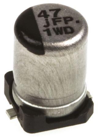 Panasonic - EEEFPJ470UAR - Panasonic FP SMD 系列 6.3 V 直流 47μF SMD 铝电解电容器 EEEFPJ470UAR, ±20%容差, 850mΩ(等值串联), 最高+105°C, B封装