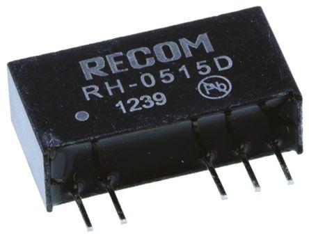 Recom - RH-0515D - Recom RH 系列 1W 隔离式直流-直流转换器 RH-0515D, ±15V dc输出, ±33mA输出, 3kV dc隔离电压, 80 → 84%效能, SIP封装