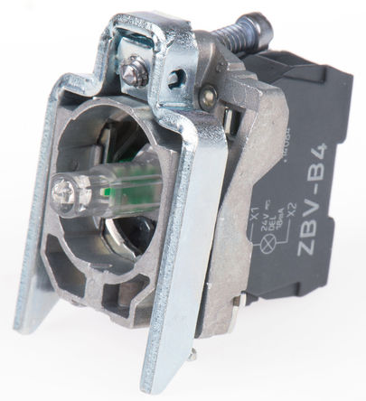 Schneider Electric - ZB4BW0B41 - Schneider Electric XB4 系列 接触块和照明块 ZB4BW0B41, 1 常开, 24 V 交流/直流, 红色 LED, 螺钉接端