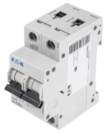 Eaton - FAZ6-C10/2 - Eaton xEffect FAZ6 系列 2极 10 A MCB 微型断路器 FAZ6-C10/2, 6 kA 断开能力, C型 跳闸特性