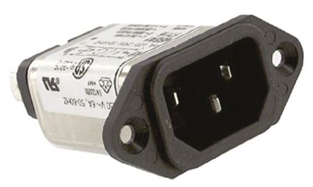 TE Connectivity - 6EEA1 - TE Connectivity 6EEA1 电源线过滤, 6 A, 250 V 交流, 54.6 x 50.3 x 20.6 mm