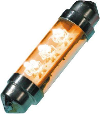 JKL Components - LE-0603-02Y - JKL Components 黄色光 尖浪形 LED 车灯 LE-0603-02Y, 43 mm长 10.5mm直径, 12 V 直流 20 mA, 2 lm