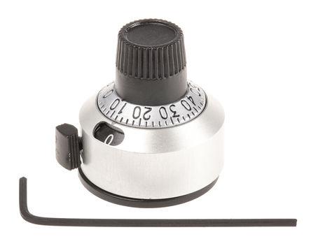 Vishay - 18A11B10 - Vishay 镀铬 多转刻度盘 18A11B10, 带黑色指示灯, 6.35mm轴, 22.2mm直径旋钮
