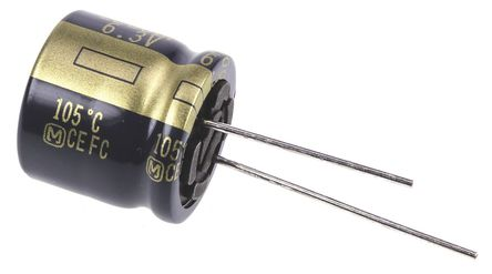 Panasonic - EEUFC0J222S - Panasonic FC 径向 系列 6.3 V 直流 2200μF 通孔 铝电解电容器 EEUFC0J222S, ±20%容差, 43mΩ(等值串联), 最高+105°C