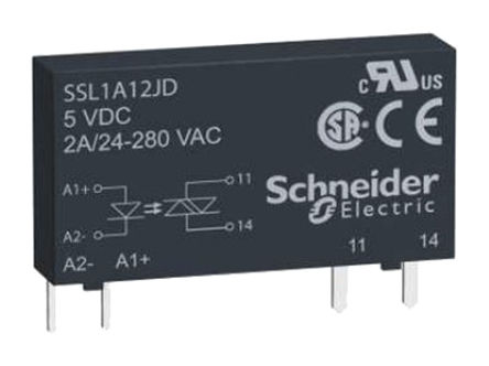 Schneider Electric - SSL1A12ND - Schneider Electric 2 A PCB安装 单极常开 固态继电器 SSL1A12ND, SCR输出, 交流切换切换, 280 V 交流