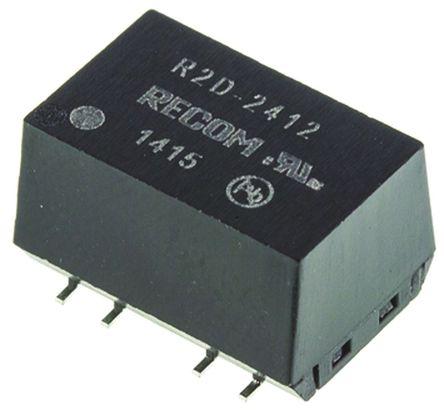 Recom - R2D-2412 - Recom R2D 系列 2W 隔离式直流-直流转换器 R2D-2412, ±12V dc输出, ±83mA输出, 3kV dc隔离电压, 75 → 83%效能, SMD封装