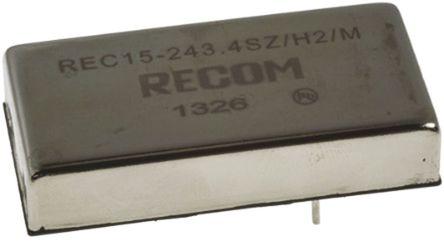 Recom - REC15-243.4SZ/H2/M - Recom REC15 系列 15W 隔离式直流-直流转换器 REC15-243.4SZ/H2/M, 9 → 36 V 直流输入, 3.4V dc输出, 3A输出, 2kV dc隔离电压, 84 → 85%效能