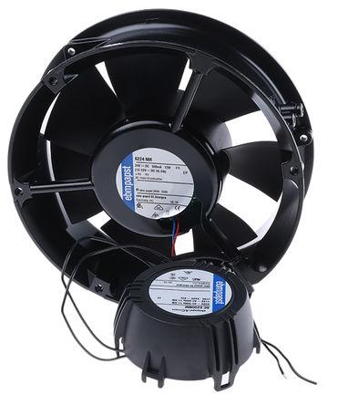 ebm-papst - AC 6200 NM - ebm-papst AC6200N 系列 14W 85 → 265 V 交流 轴流风扇 AC 6200 NM, 350m3/h, 2850rpm, 172 (Dia.) x 52mm