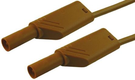 Hirschmann Test & Measurement - 934087105 - Hirschmann Test & Measurement 934087105 棕色 测试引线, 32A额定电流, 1000V ac/dc, 公至公, 50cm长